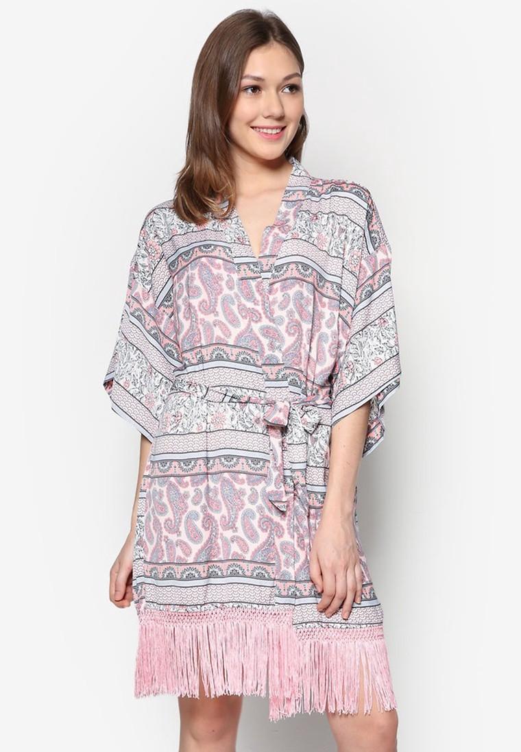 Fringed Hem Kimono Gown