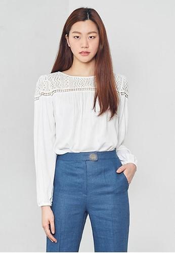 NAIN white Long Sleeve Lace Blouse