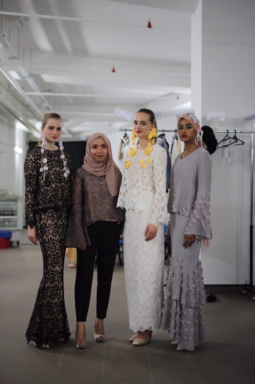 Nina Aziz, Lubna designer, with her beautiful models
