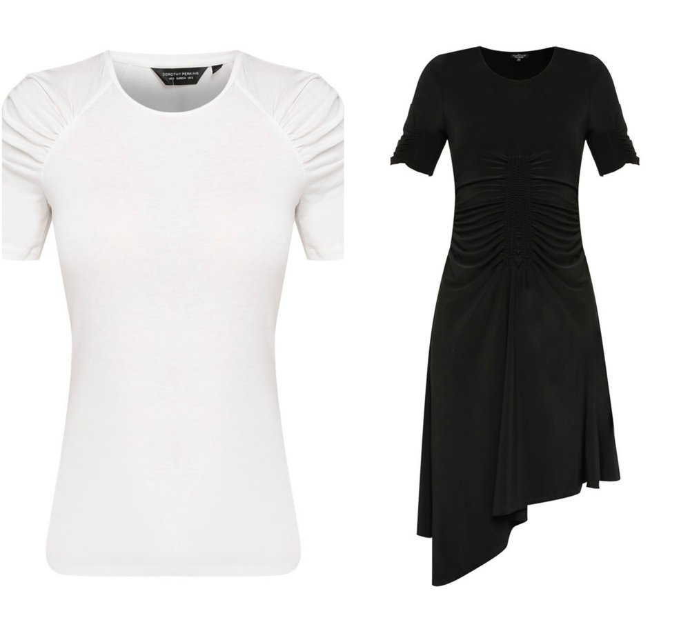 Dorothy Perkins Ivory Ruched Sleeve Tee ,  TOPSHOP PETITE Ruch Front Midi Dress