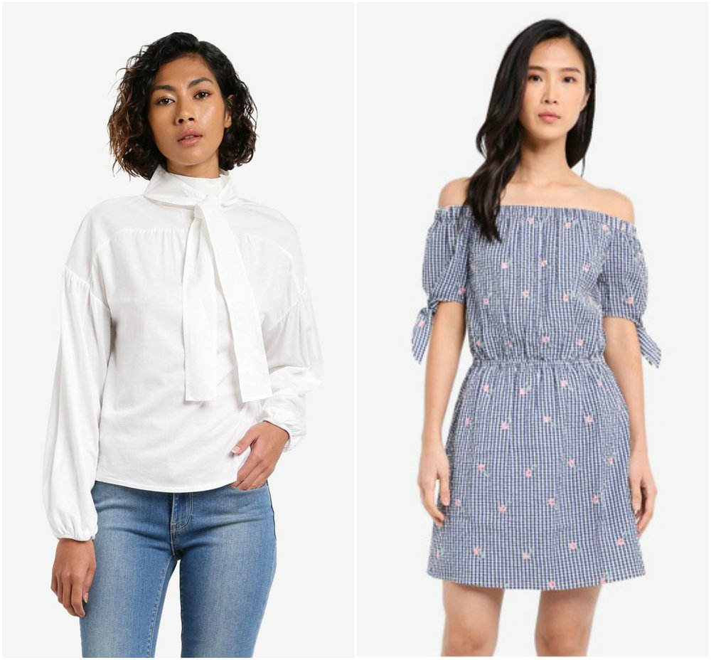 Mango Bow Blouse ,   ZALORA Off Shoulder Mini Dress With Sleeve Bow Detail