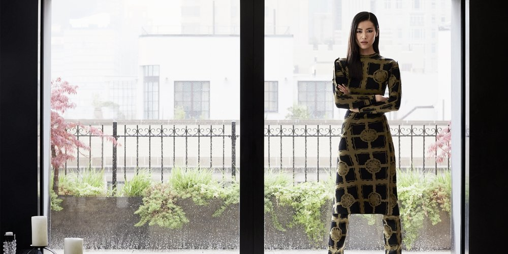 Liu Wen is wearing a Céline dress, trousers and shoes. Image: Russell James