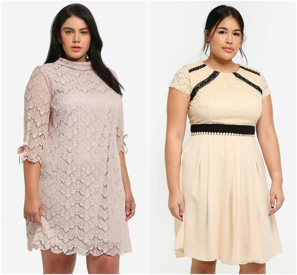 1.   ELVI Plus Size 3/4 Sleeve Lace Dress  , 2.  LITTLE MISTRESS Plus Size Cream Prom Dress