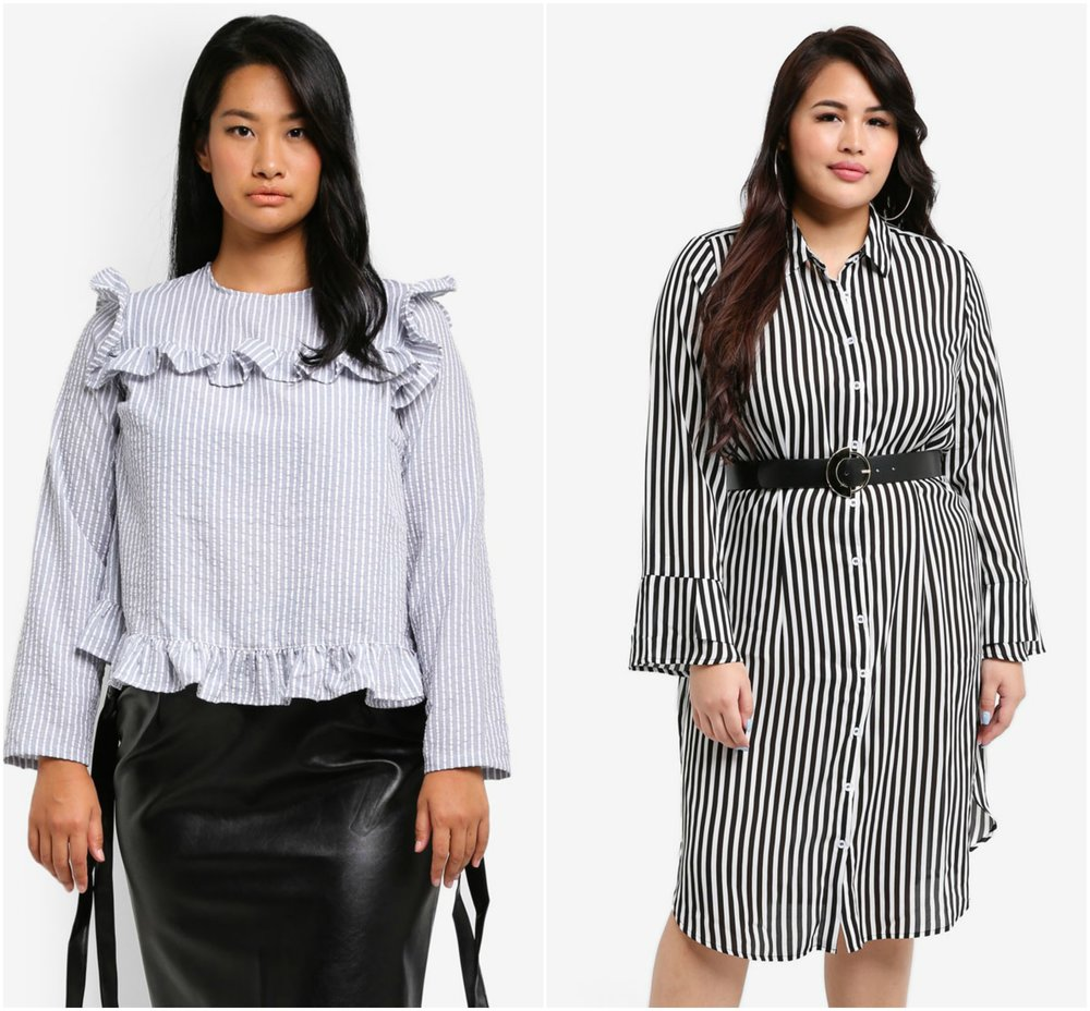 1.  LOST INK PLUS Plus Size Ruffle Hem Top In Ticking Stripe  , 2.  LOST INK PLUS Shirt Dress In Stripe With Belt