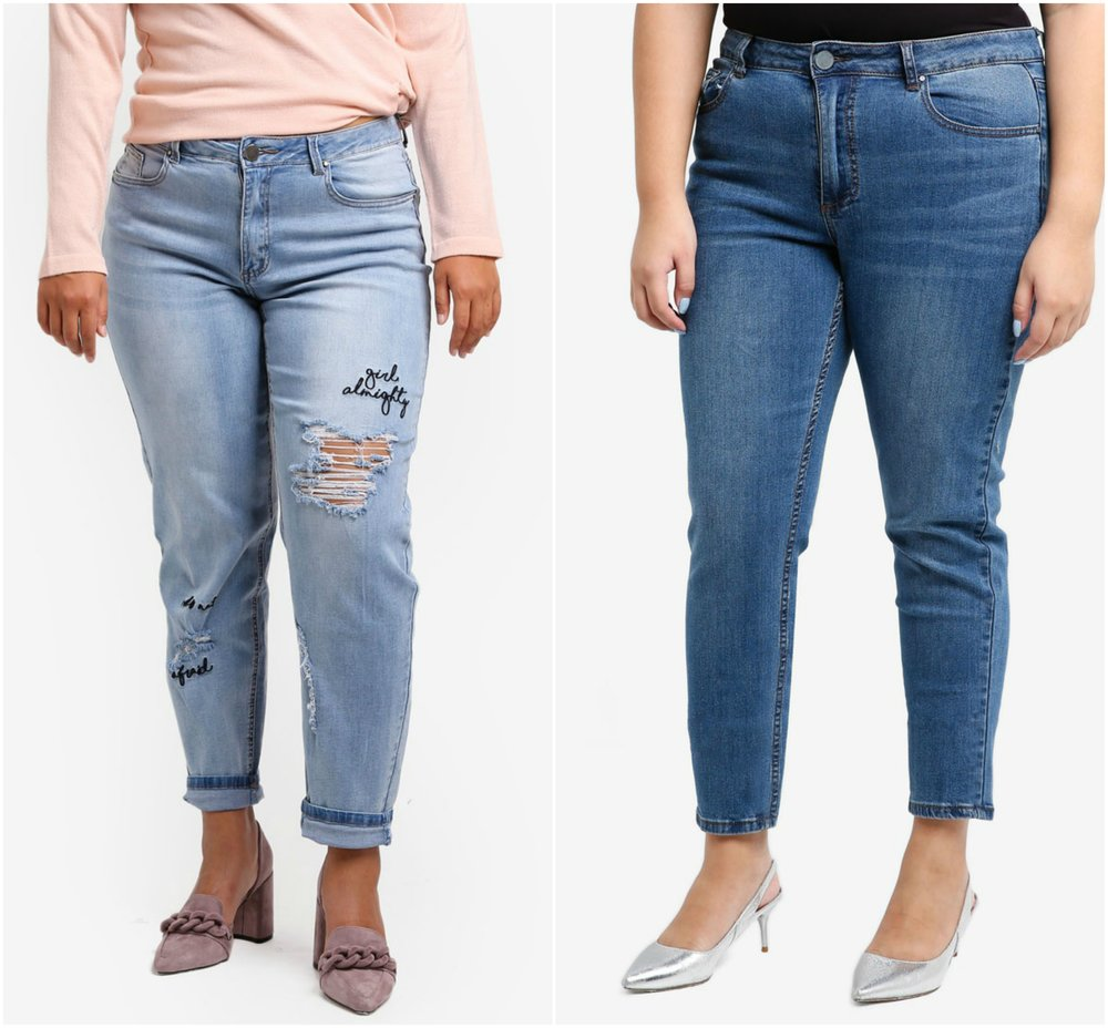 1.  LOST INK PLUS Relaxed Skinny In Chia , 2.  LOST INK PLUS Plus Size Slim Boyfriend Jeans With Slogan