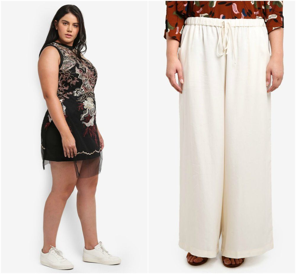 1.  ELVI Plus Size Multi Embroderies Longline  , 2.  Ex'otico Basic Long Trousers