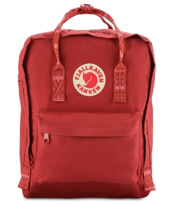 Fjallraven Kanken Deep Red - Folk Pattern Kanken Classic Backpack