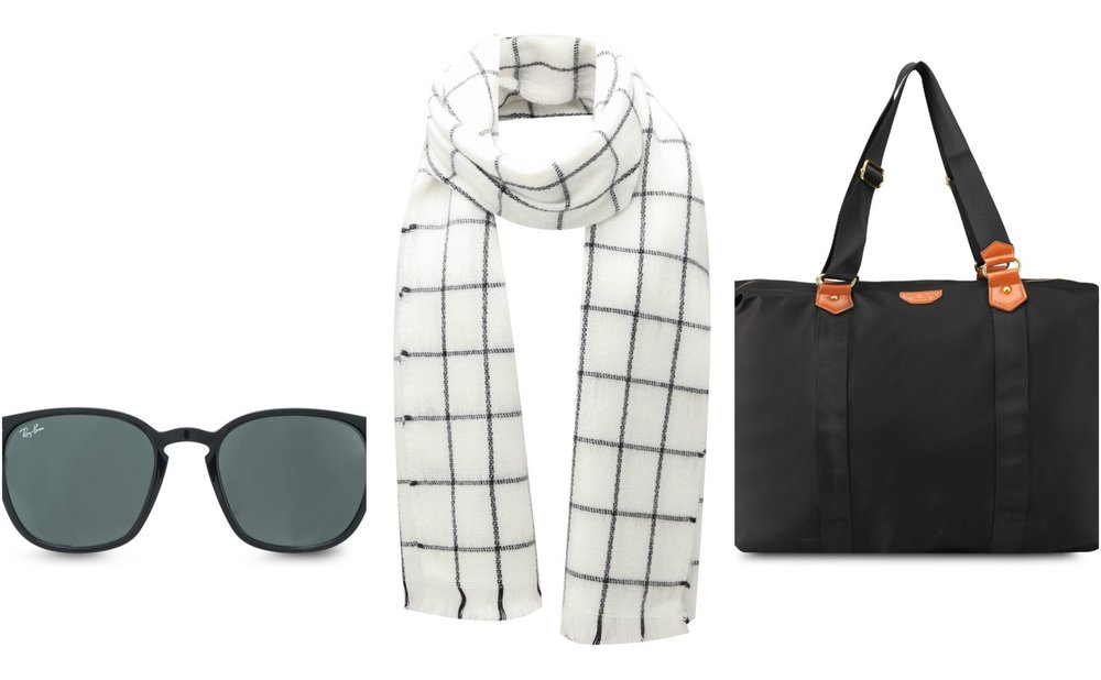 1.  RAYBAN RB4258F Sunglasses    2.  Miss Selfridge Cream Checked Scarf     3.  Nuveau Pu-Trimmed Nylon Travel Bag