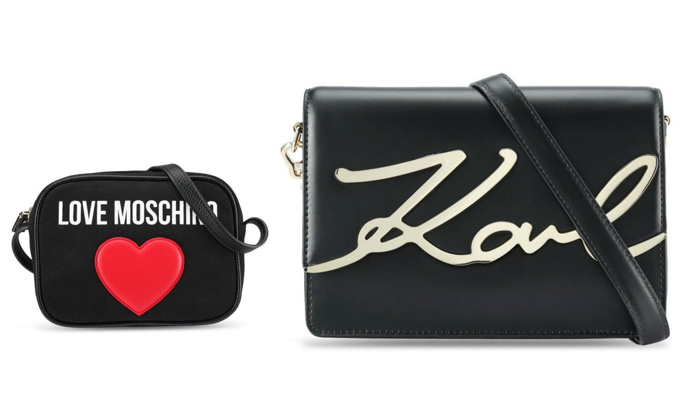 1.  LOVE MOSCHINO Borsa Canvas Sling Bag  , 2.  KARL LAGERFELD K/Metal Signature Shoulder Bag