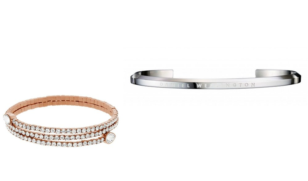 1.  SWAROVSKI Twisty Cuff Drop , 2.  Daniel Wellington Classic Cuff Large