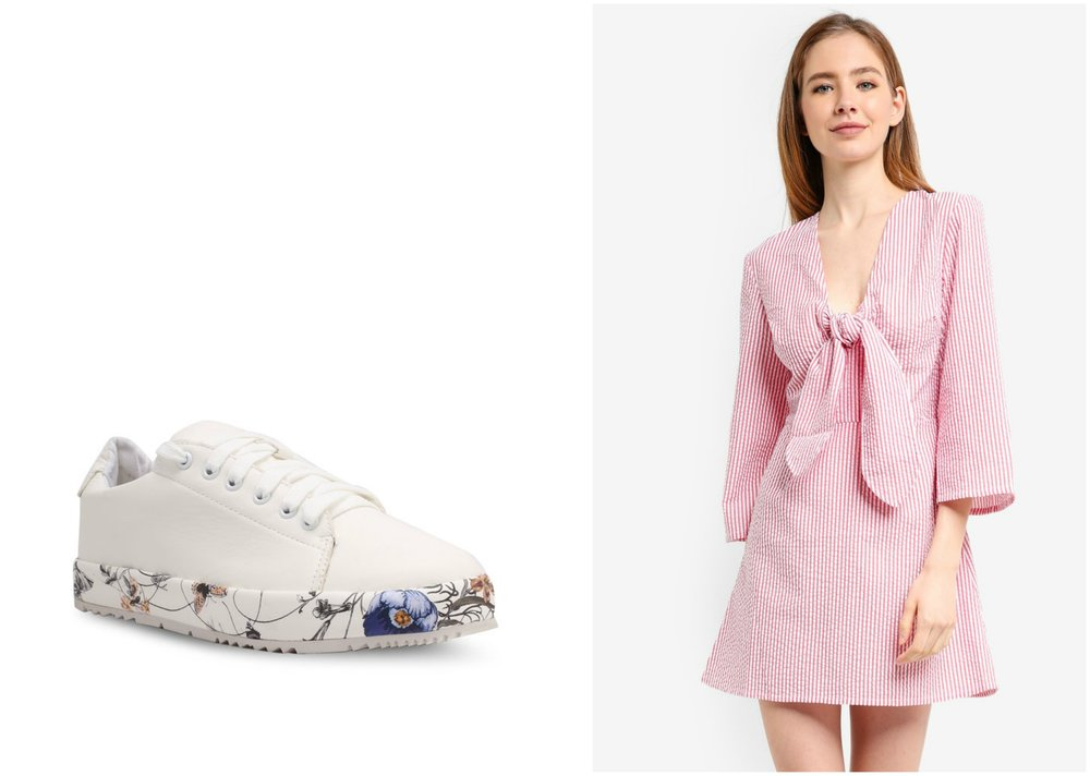 1.  LOST INK Sunny Floral Plimsolls , 2.  THE FIFTH LABEL Anagram Stripe Long Sleeve Dress
