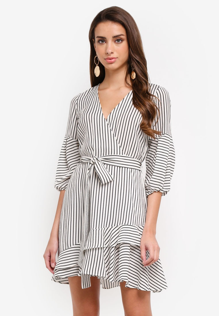 RIVER ISLAND Stripe Frill Hem Tie Waist Dress