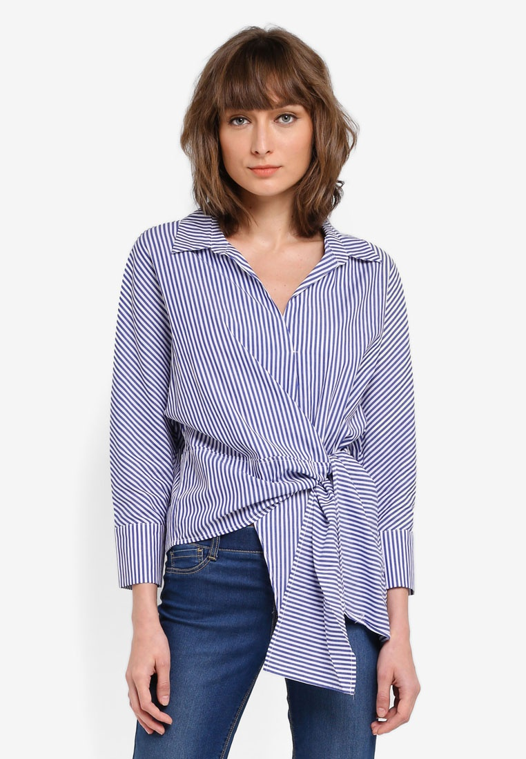 DRESSING PAULA Front Tie Stripe Cotton Poplin Shirt