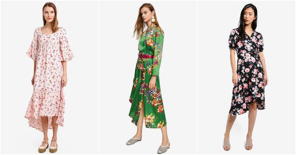 TOPSHOP Ruched Floral Maxi Dress ,  MANGO Satin Floral Dress ,  ZALORA Printed Wrap Dress