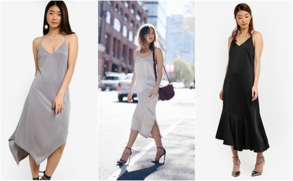 Left: Asymmetric Hem Slip Dress from  TOPSHOP  Right: Assymetric Slip Dress from  ZALORA