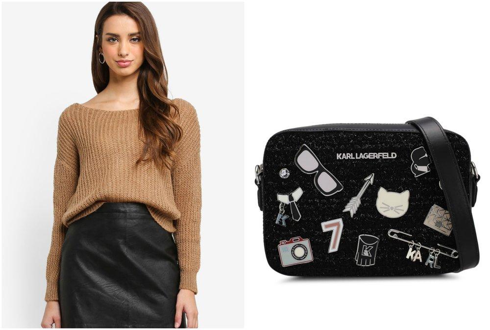 1.  MISSGUIDED Fluffy Yarn Twist Back Oversized Jumper  , 2.  KARL LAGERFELD K/Klassik Pins Camera Bag