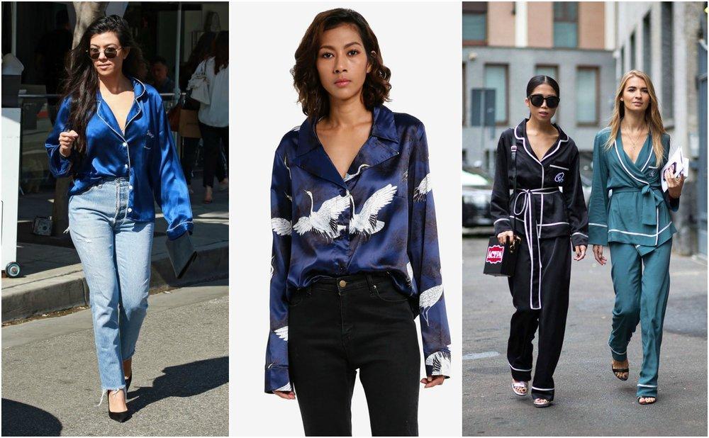 MISSGUIDED Bird Print Satin Pyjama Style Shirt