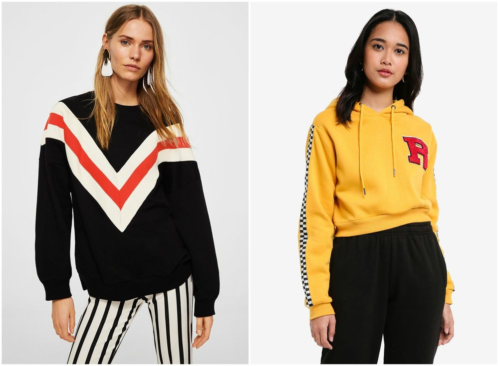 left:  MANGO Striped Oversize Sweatshirt  , right:  FACTORIE Collegiate Crop Hoodie
