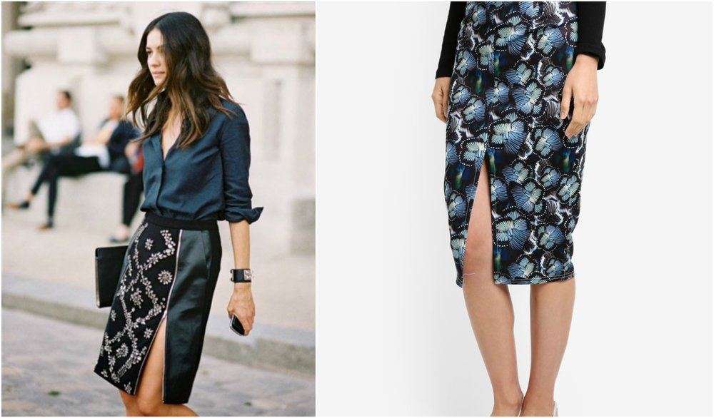 LOST INK Butterfly Print Ruffle Pencil Skirt
