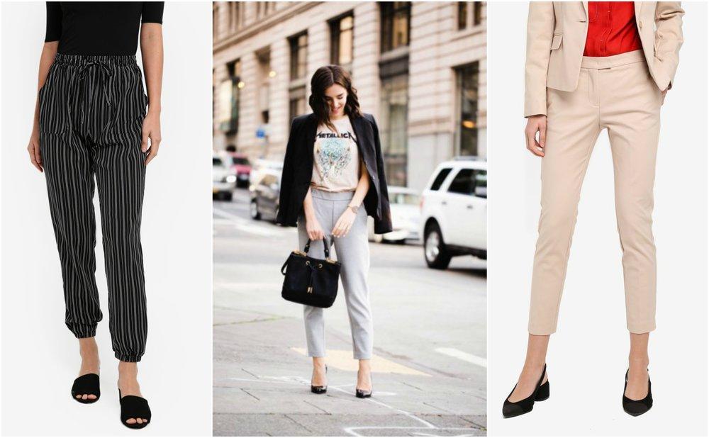 left:  ZALORA Striped Jogger Pants  , right:  MANGO Slim-Fit Cotton-Blend Trousers
