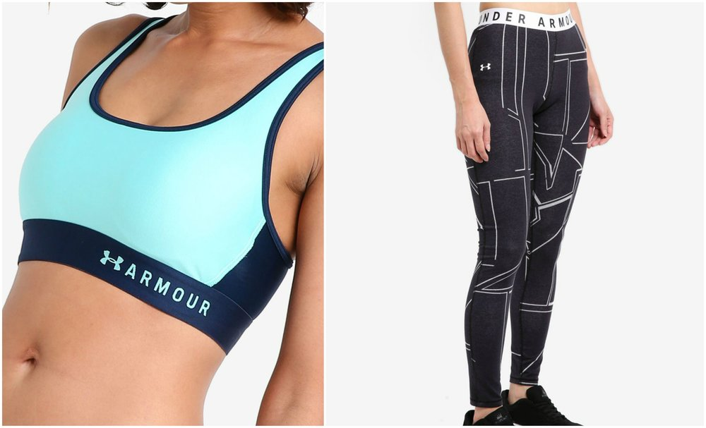left:  UNDER ARMOUR Mid Crossback Sports Bra , right:  UNDER ARMOUR Q1 Graphic Favorites Leggings