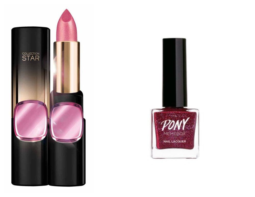 1. L'Oreal Make Up Designer CR Star 24Gold Lipstick N601 ASJP-Nude Gold , 2.  MEMEBOX PONY Nail #04 Eclipse