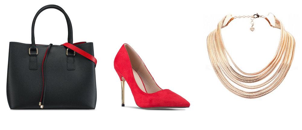 1.  ALDO Frenarien Handbag , 2.  Addicts Anonymous Alexis Suede Heels , 3.  ALDO Disraeli Necklace