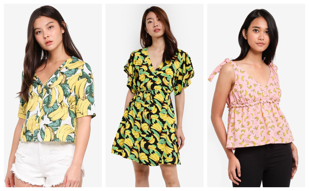 1.  GLAMOROUS Banana Top , 2.  ZALORA Wrap Front Dress , 3.  SOMETHING BORROWED Bow Detail Ruffle Top