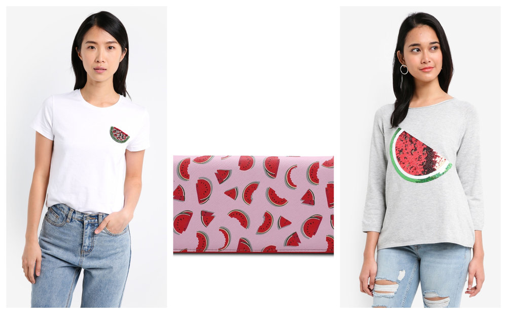 1.  ZALORA Basic Fit Tee With Watermelon Patch , 2.  Mango Printed Wallet , 3.  ONLY Marley 3/4 Sleeve Sequin Pullover