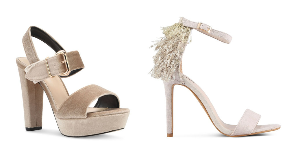 1.  Something Borrowed Peeptoe Platform Chunky Heel , 2.  VELVET Back Frills Ankle Strap Heels