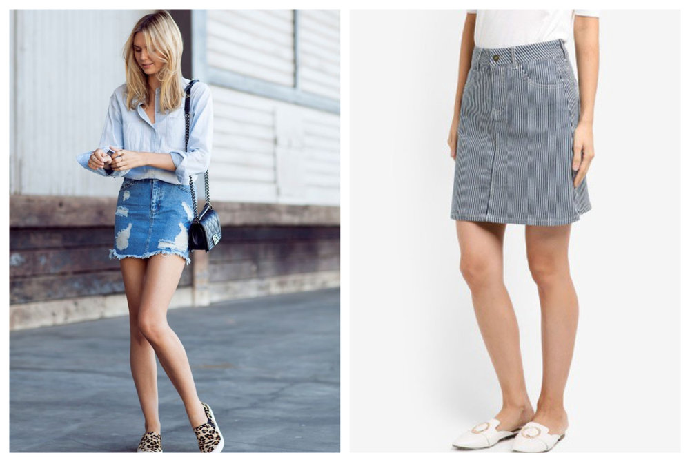 Right: Striped High Waisted Skirt from ZALORA