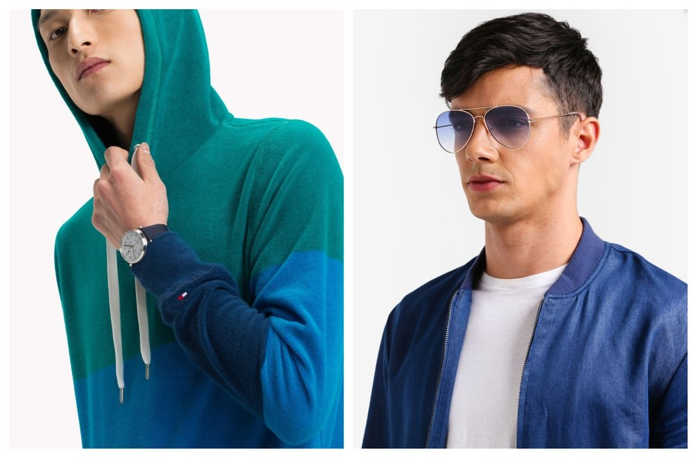 1.  Tommy Hilfiger Towelling Colour Block Hoodie , 2.  River Island Flat Lens Aviator