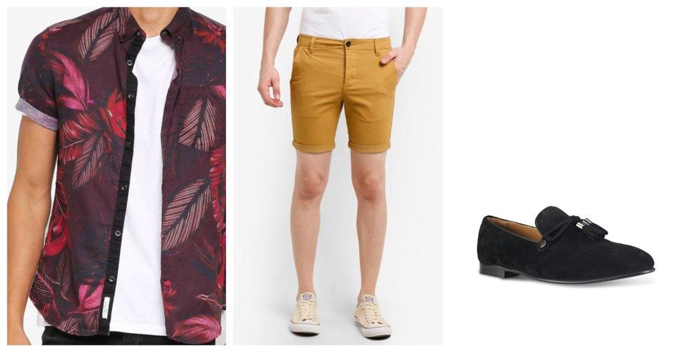 River Island Berry Linen Print Shirt | Topman Mustard Shorts |  ALDO Mccrery Loafers