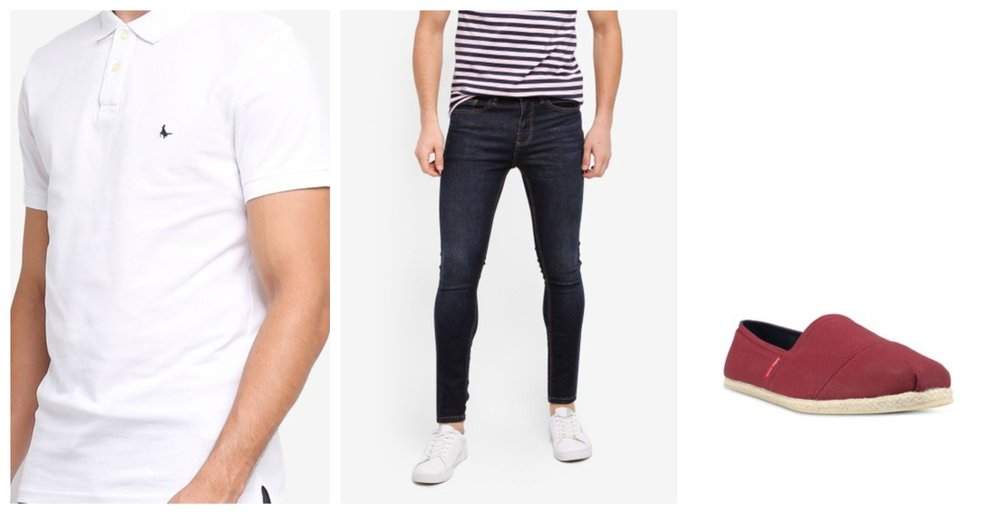 Jack Wills Aldgrove Polo Shirt  |  Topman Dark Blue Jeans  |  Jack & Jones Canvas Espadrille Slip-Ons