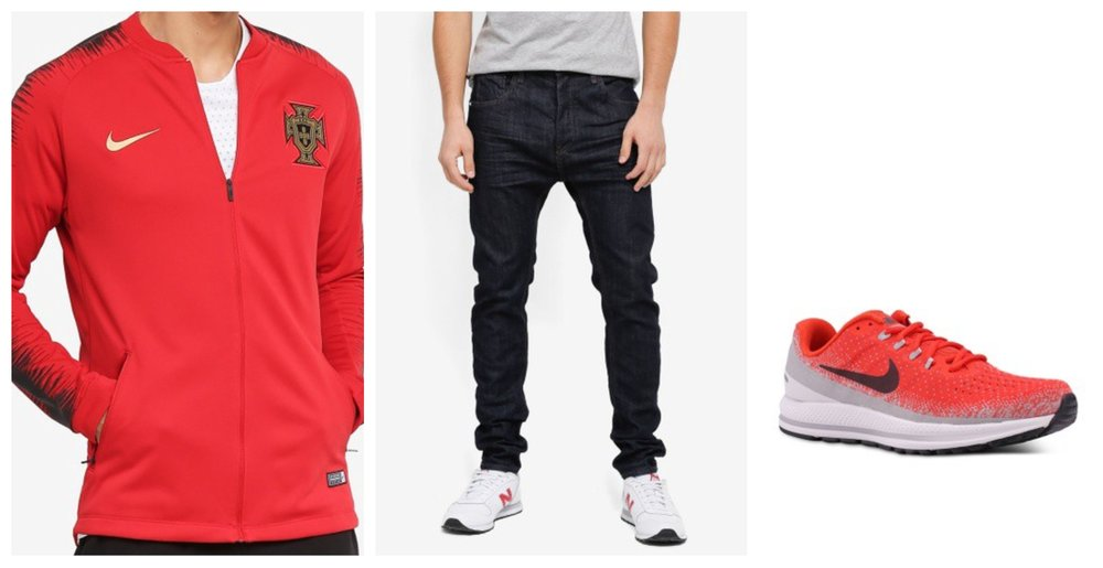 Nike Portugal FB Jacket  |  CR7 Tapered Classic Raw Denim Jeans  |  Nike Air Zoom Vomero 13 Running Shoes