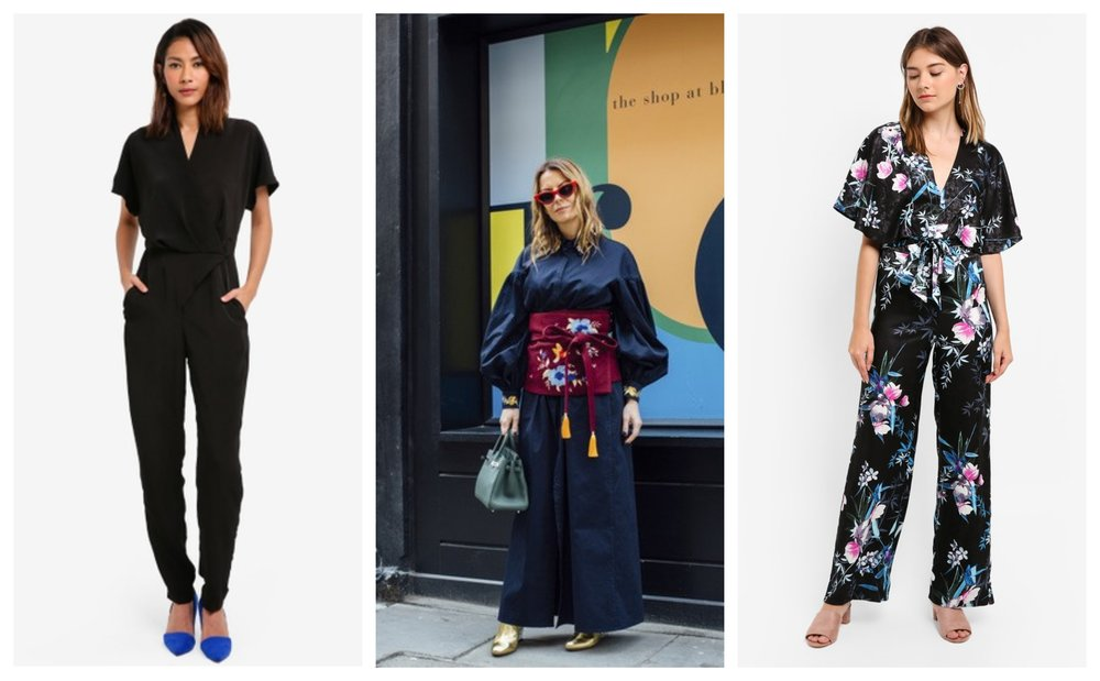 CLOSET Wrap Front Kimono Jumpsuit , Lipsy Amelia Print Kimono Sleeve Jumpsuit