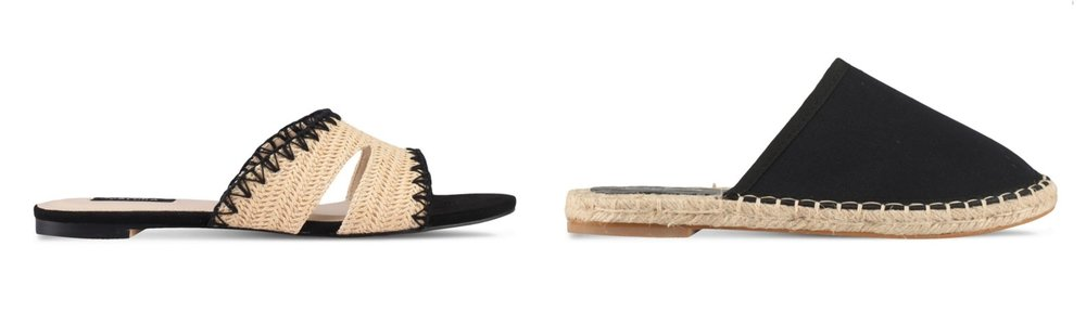 1.  ZALORA Straw Weaved Sandals , 2.  Something Borrowed Slip On Espadrille
