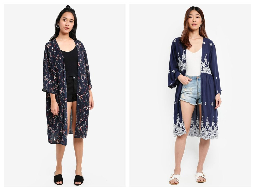 Something Borrowed Printed Longline Kimono Cardigan ,  Something Borrowed Embroidered Kimono Cardigan