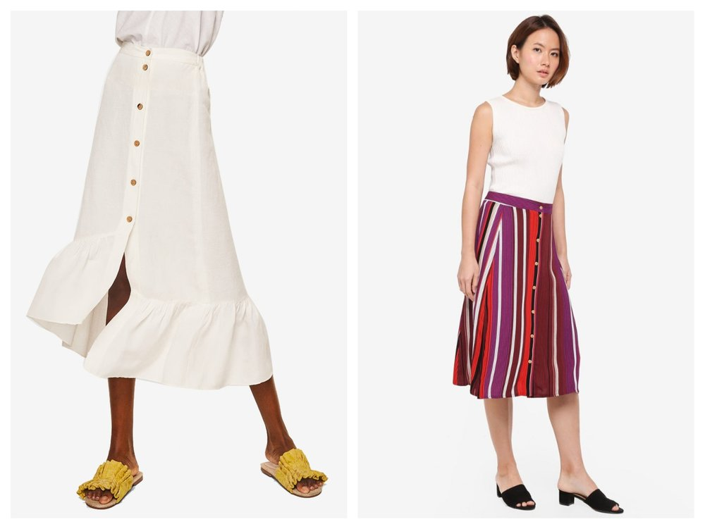 MANGO Ruffled Linen-Blend Skirt ,  Cotton On Woven Ryder Midi Skirt