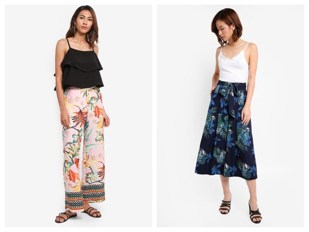 River Island Tyra Tiered Cami Top ,  ZALORA Printed Tie Waist Cullottes