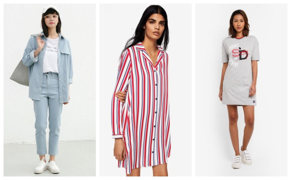 Shopsfashion Torn Boyfriend Shirt  |  Mango Printed Shirt Dress  |  Superdry Boyfriend T-Shirt Dress