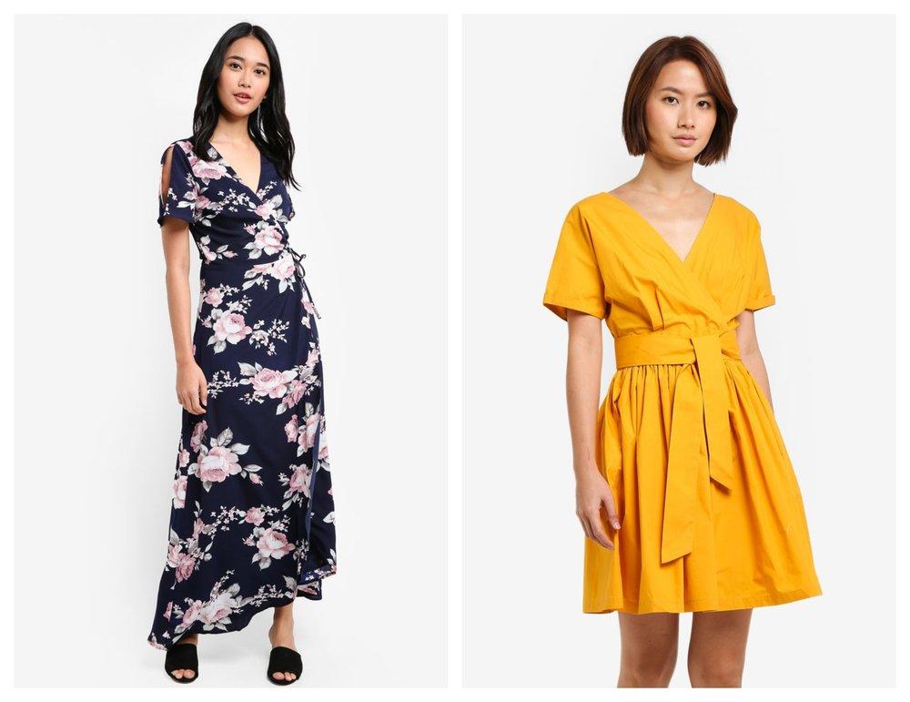 Something Borrowed Slit Sleeve Wrap Maxi Dress  I  ZALORA Wrap Front Fit & Flare Dress