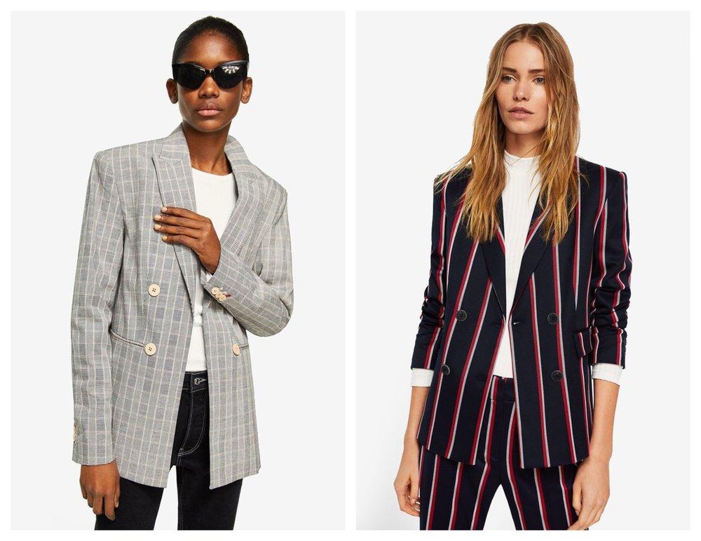 M ANGO Double-Breasted Check Suit Blazer  I  MANGO Striped Suit Blazer