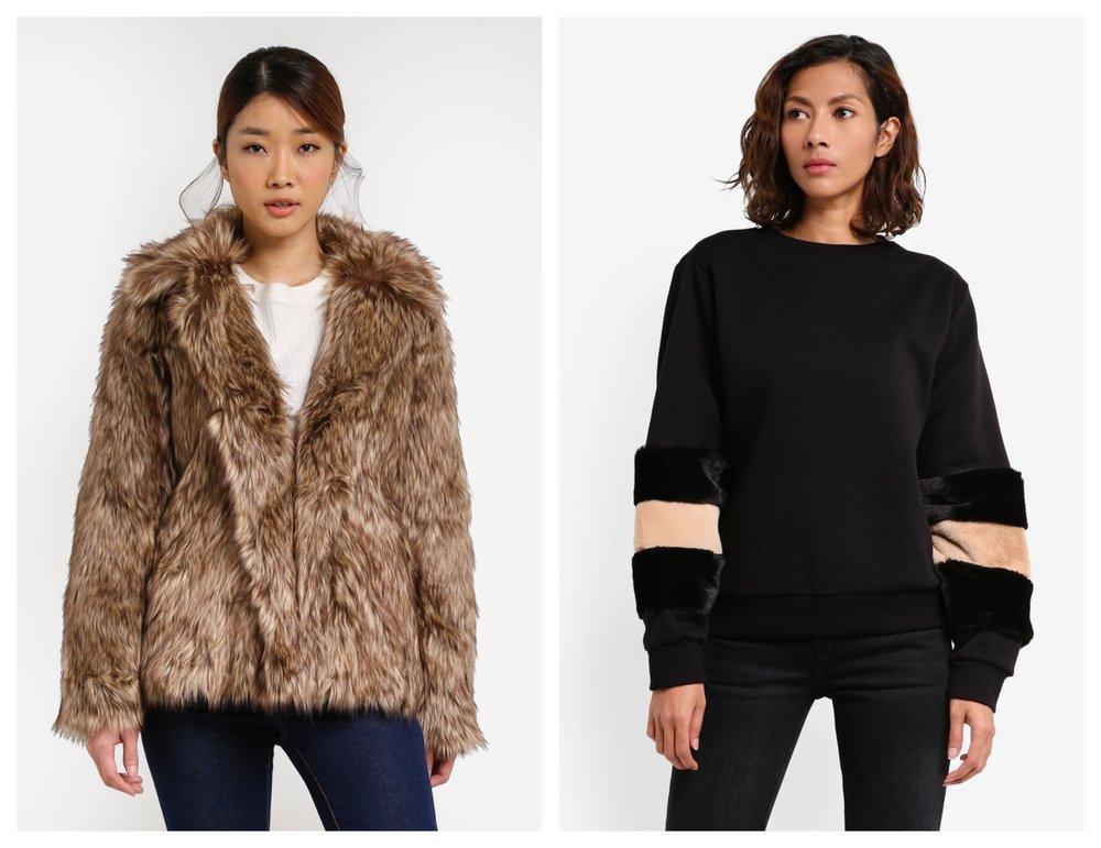 Miss Selfridge Faux Fur Coat  I  MANGO Fur Sleeves Sweatshirt