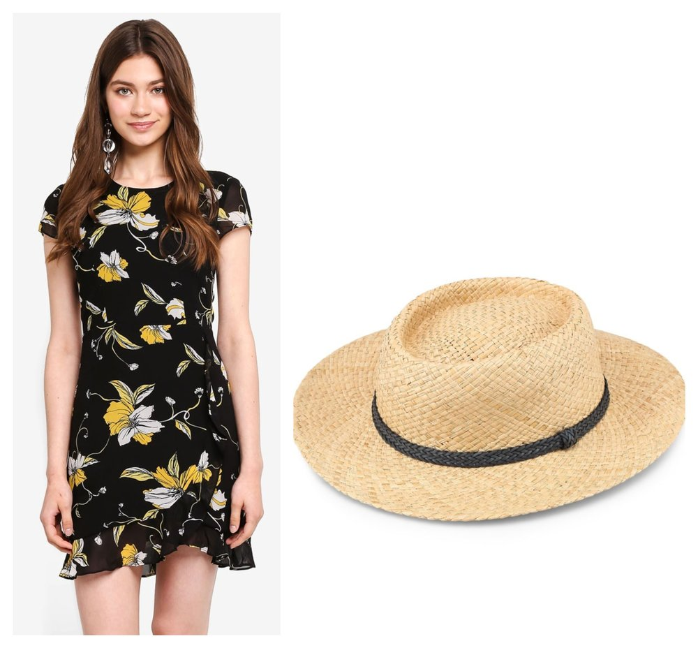 BARDOT Lucy Dress  I  TOPSHOP Straw Flat Top Hat