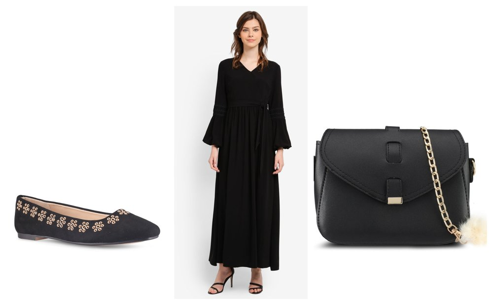 1.      ZALORA Floral Eyelets Flats , 2.  ZALIA Lace Trim Wrap Dress , 3.  VELVET Small Sling Bag With Pompom