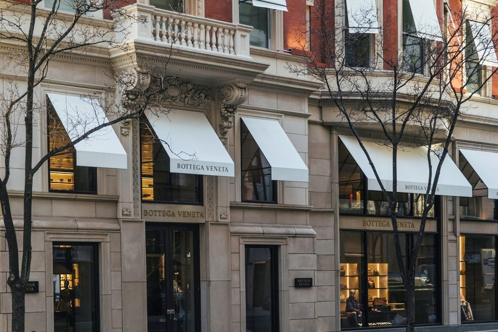 Exteriors of Bottega Veneta's 15,000 square-feet flagship store in New York City, the brand's largest retail space in the world.