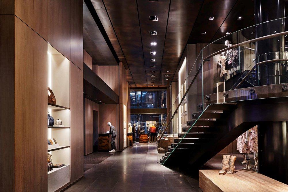 Interior of Bottega Veneta's flagship store in New York City.