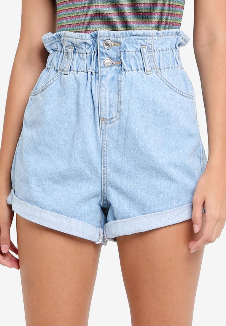 TOPSHOP Paper Bag Denim Shorts
