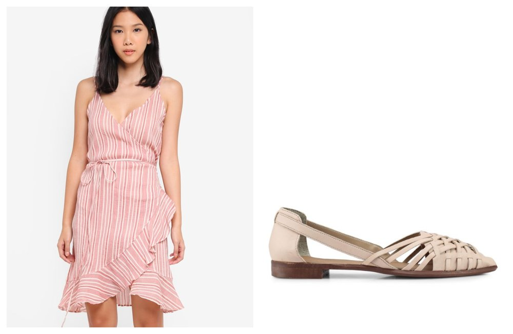 Vero Moda Summer Wrap Short Strap Dress  |  TOPSHOP Abstract Woven Shoes